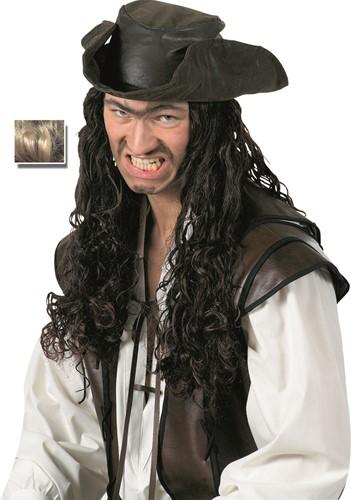 Hoed Piraat met Zwart Haar