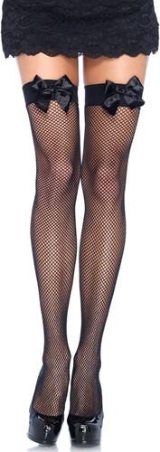 Sexy Overknee Netkousen Zwart met Zwarte Strikken