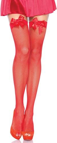 Sexy Overknee Netkousen Rood met Rode Strikken