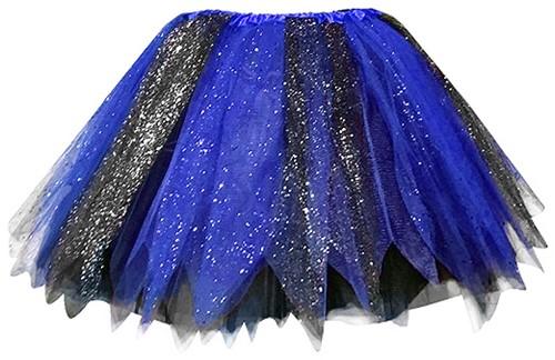 Glitter Tule Rokje Zwart/Blauw