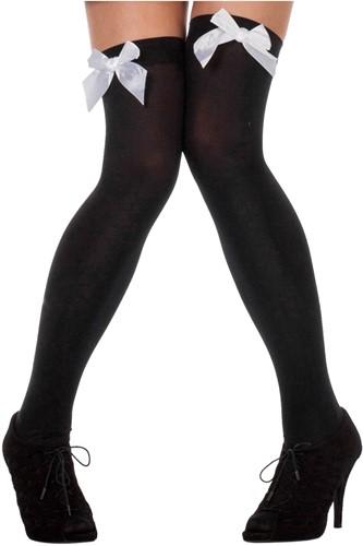 Overknee Kousen Zwart met Witte Strik
