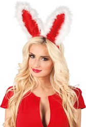 Diadeem Kerst Bunny Rood-Wit