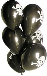 Ballonnen 6st Piraat Zwart