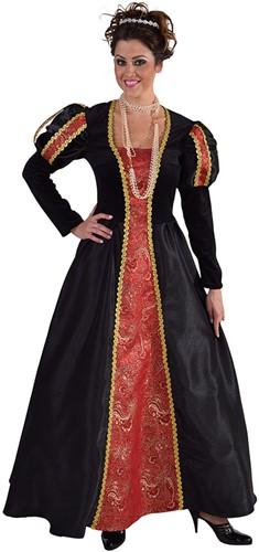 Damesjurk Middeleeuwse Dame Rood/Zwart