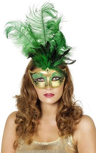 Venetiaans Masker Grote Veer Groen
