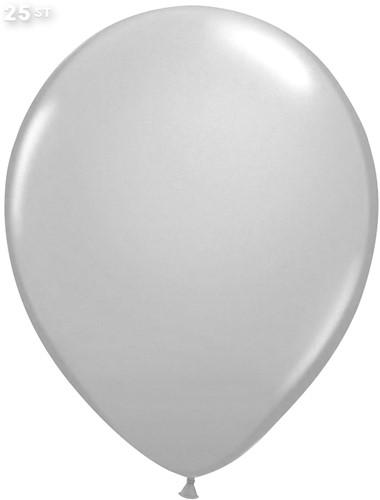 Ballonnen Metallic Zilver 35cm - 25 stuks
