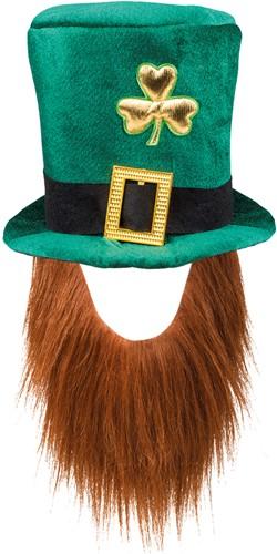 Hoge Hoed Leprechaun met Baard - St. Patricks Day