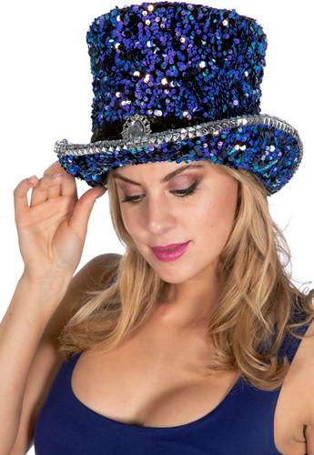 Hoge Hoed Pailletten Luxe Blauw