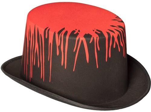 Halloween Hoed Zwart met Bloed Splash