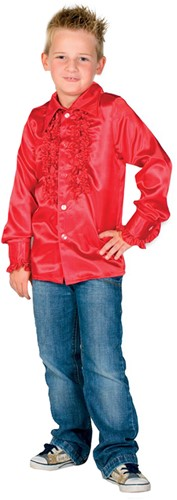 Kinder Ruche Blouse Luxe Rood