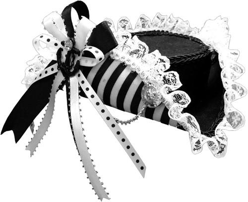 Mini Piratenhoedje Driesteeek Zwart-Wit met Clips