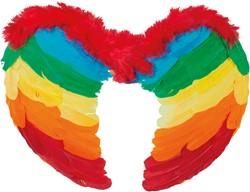 Engelen Vleugels Regenboog met Marabou (50x35cm)