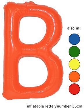 Opblaas Letter B 35cm Geel
