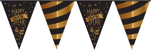Vlaggenlijn Happy New Year Goud-Zwart (10m)