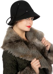 Dameshoed Jaren 20 Zwart Luxe (Wolvilt)