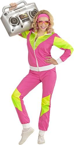Jaren 80 Trainingspak Roze-Geel-Groen voor dames
