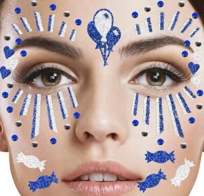 Gezicht Stickers Clown Blauw-Wit