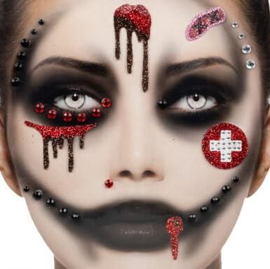 Halloween Gezicht Stickers Bloody Nurse