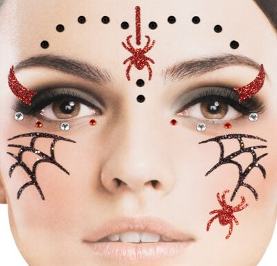 Halloween Gezicht Stickers Spinnen