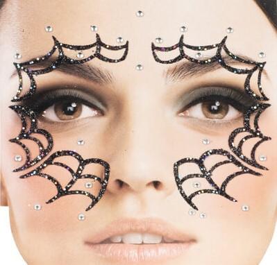 Halloween Gezicht Stickers Spinnenweb