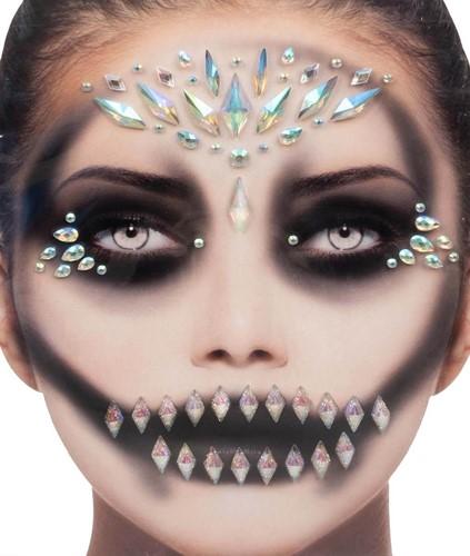 Halloween Gezicht Stickers Queen Black Luxe