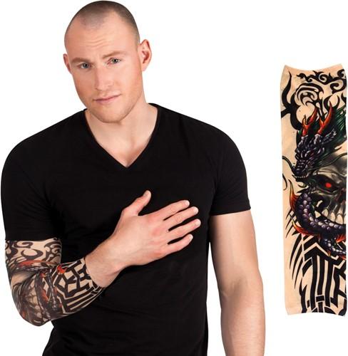 Tattoo Mouw Dragon Skull
