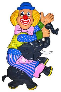 Wanddeco Clown op Olifant (48x28cm)