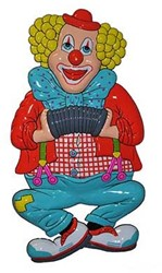 Wanddeco Clown met Accordeon (52x28cm)