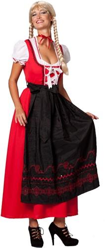 Dirndl Lang Rood/Zwart
