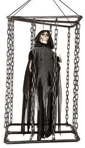 Hangdecoratie Bewegende Skelet in Kooi (50cm)