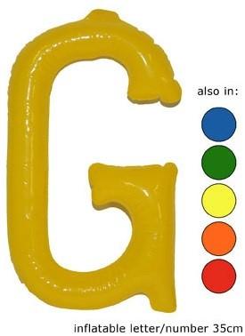 Opblaas Letter G 35cm Blauw