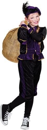 Kostuum Zwarte Piet Paars-Zwart voor kinderen