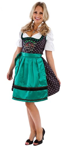Dirndl Zwart/Groen Landhausstil 60cm Luxe 3dlg.