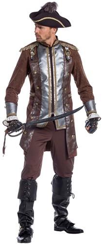 Piratenkostuum Bruin-Zilver Luxe voor heren