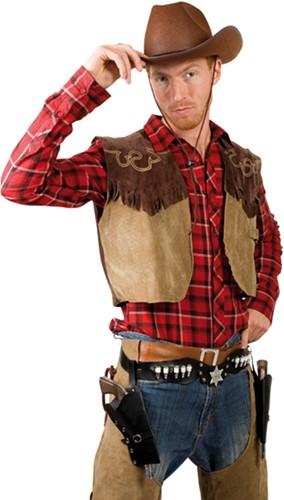 Holster Cowboy Dubbel Zwart (volwassenen)