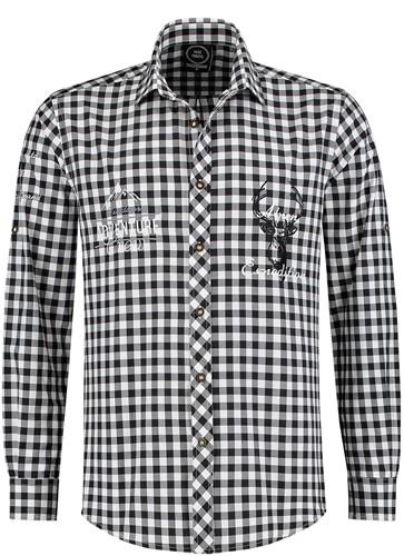 Tiroler Trachtenhemd Zwart/Wit Luxe (100% kat)
