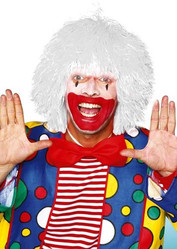 Clownspruik draadjes Wit