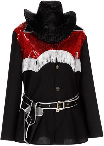 Heren Cowboy Blouse Zwart met Rode Pailletten