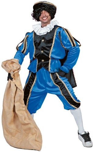 Kostuum Zwarte Piet Luxe met Cape Blauw