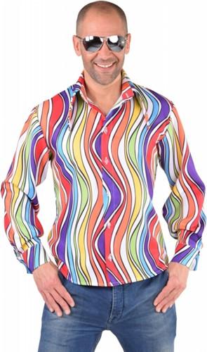 Heren Disco Blouse Seventies Rainbow Waves