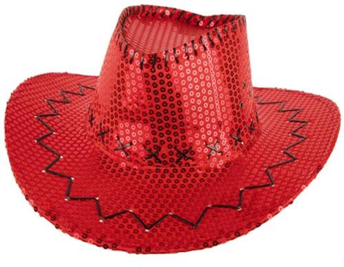 Cowboyhoed Pailletten Glitter Rood