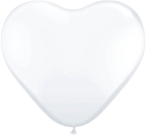 Hartballonnen Wit 38cm 3st