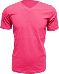 Heren T-Shirt V-Hals Fuchsia (Slim Fit)