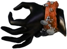 Armband Zigeuner Stof+Muntjes Oranje