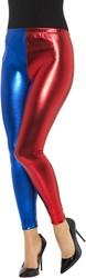 Harlequin Cosplay Legging Rood/Blauw