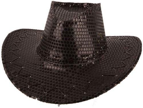 Cowboyhoed Pailletten Glitter Zwart