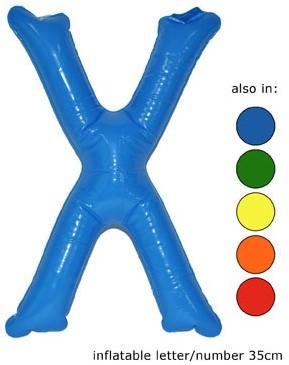 Opblaas Letter X 35cm Blauw