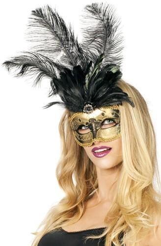 Venetiaans Masker Grote Veer Goud