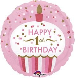 Folieballon Happy 1st Birthday Girl (45cm)