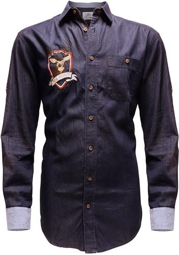 Tiroler Overhemd Denim Marine (100% katoen)